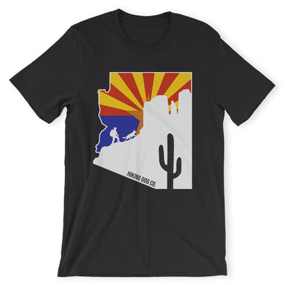 Black Arizona State Flag Hiking Shirt | Hiking Dog Co.