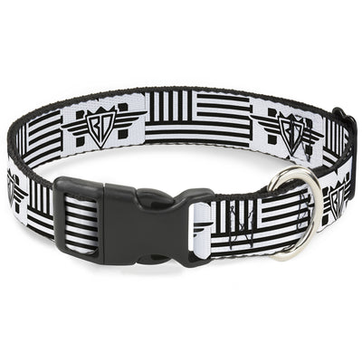 Buckle Down Logo Collar with American Stripe Flag, White & Black