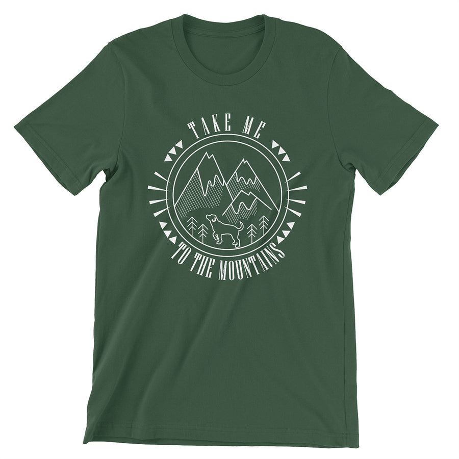 Dark Heather Grey Take Me To The Mountains T-Shirt | Hiking Dog Co.