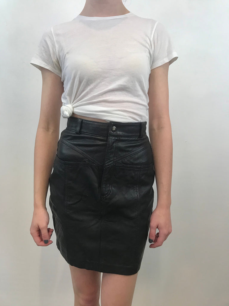Leather High Waist Mini Skirt - Waist 24""