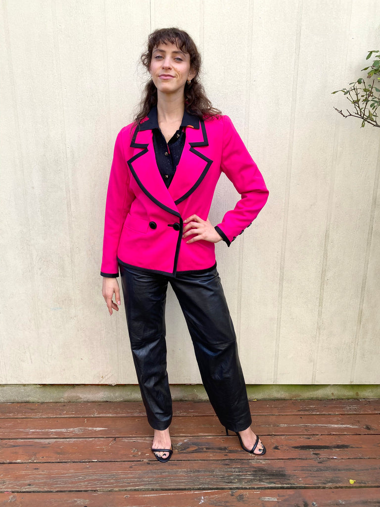 Vintage 70sYSL Yves Saint Laurent Wool Disco Hot pink and black Dagger Suit Jacket Blazer XS S M
