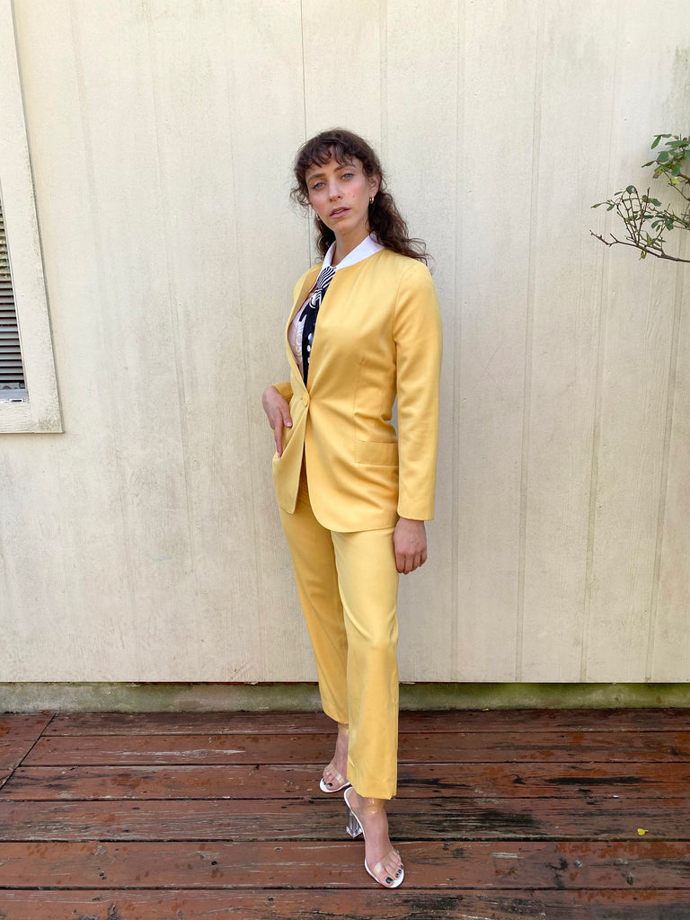 Vintage 90s Escada Yellow High waist Power pants Blazer Jacket set Suit S M
