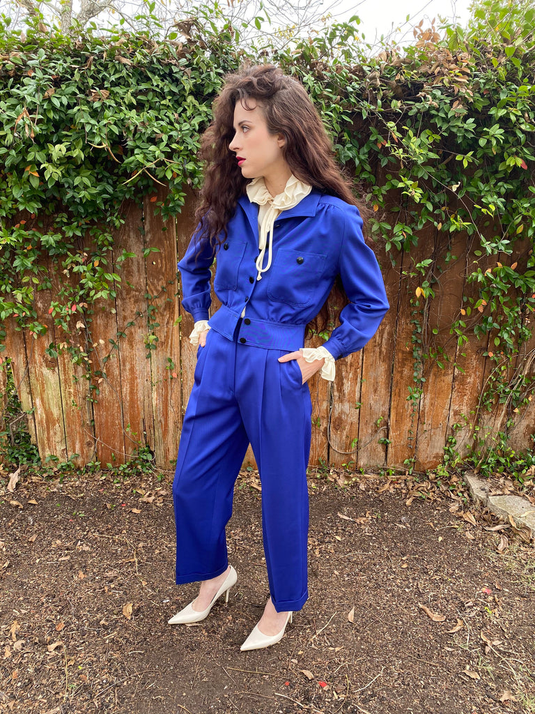Vintage 80s Valentino Peplum jacket High waist Pleated pants Royal blue XS