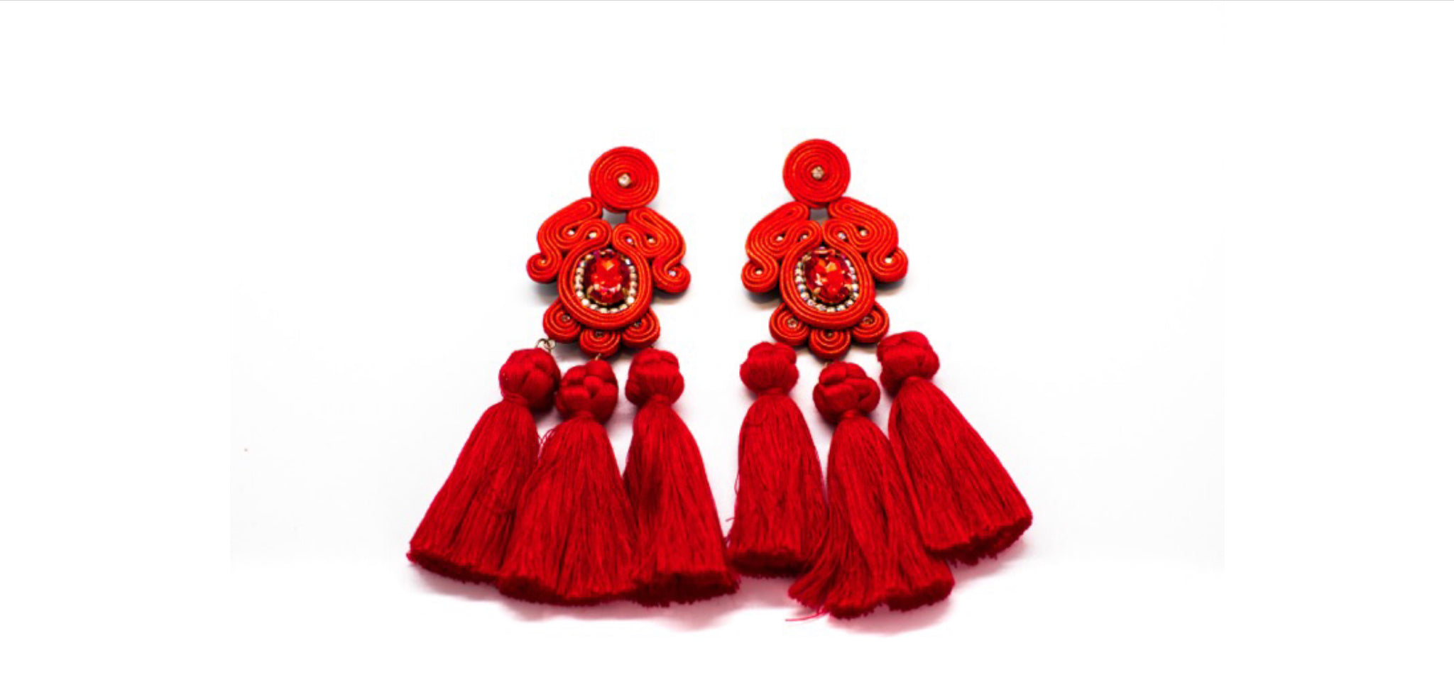 Large Earrings Color Red
