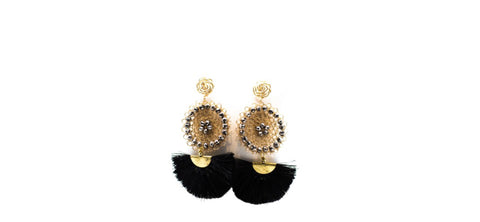 Black Fan Shape Earrings