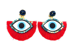 Evil Eye Earrings P Red