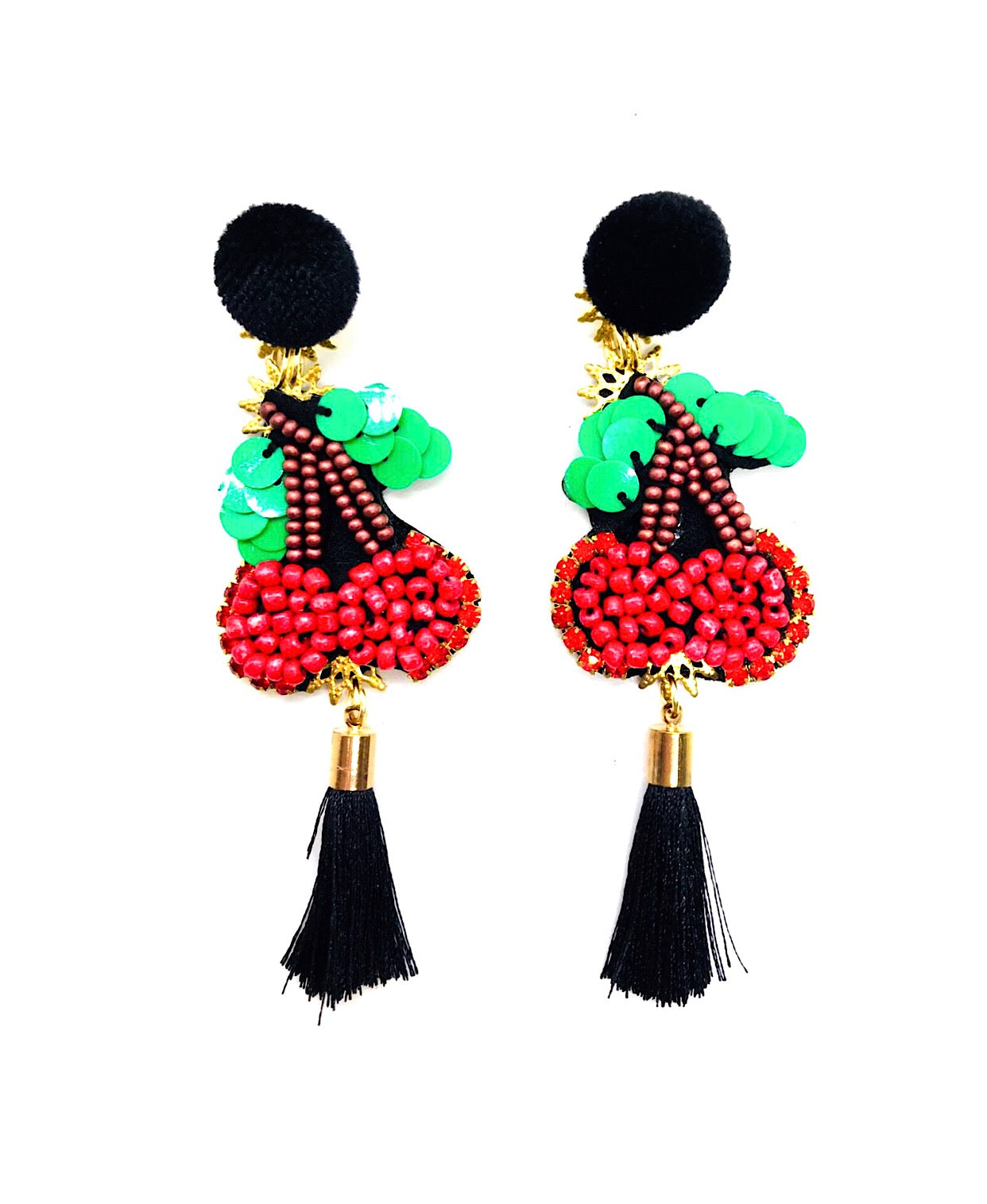 Handmade Cherries L Earrings