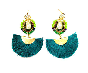 Wire Green Earrings Green-Green