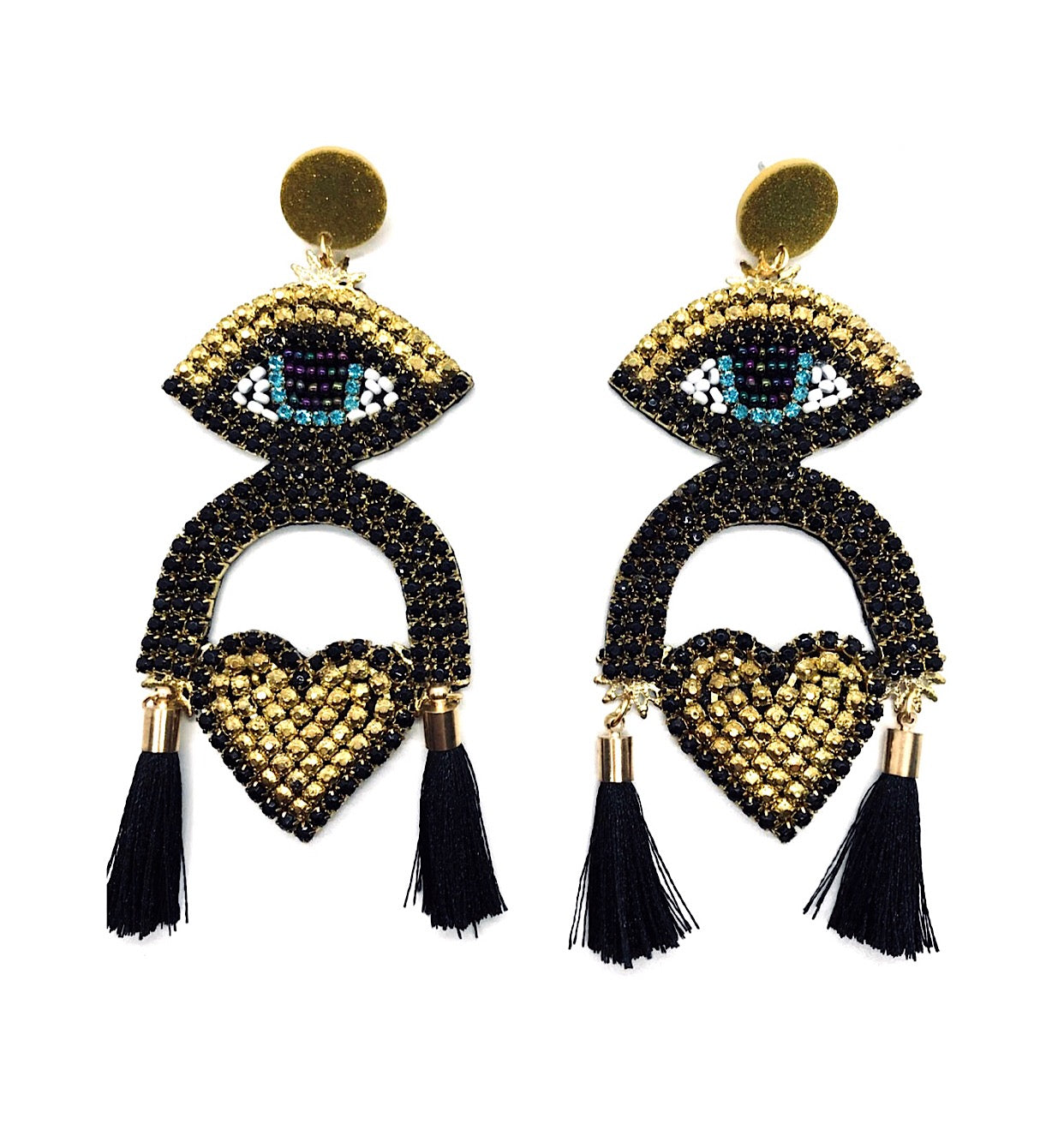 Big Earrings Eye Heart Handmade ( Black)