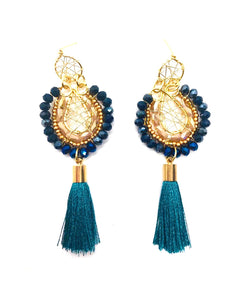 Blue Wire Weave Earrings