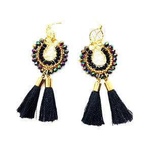 Gold-Plated Wire Weave Earrings Black