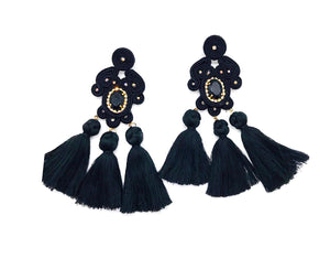 Large Earrings Black