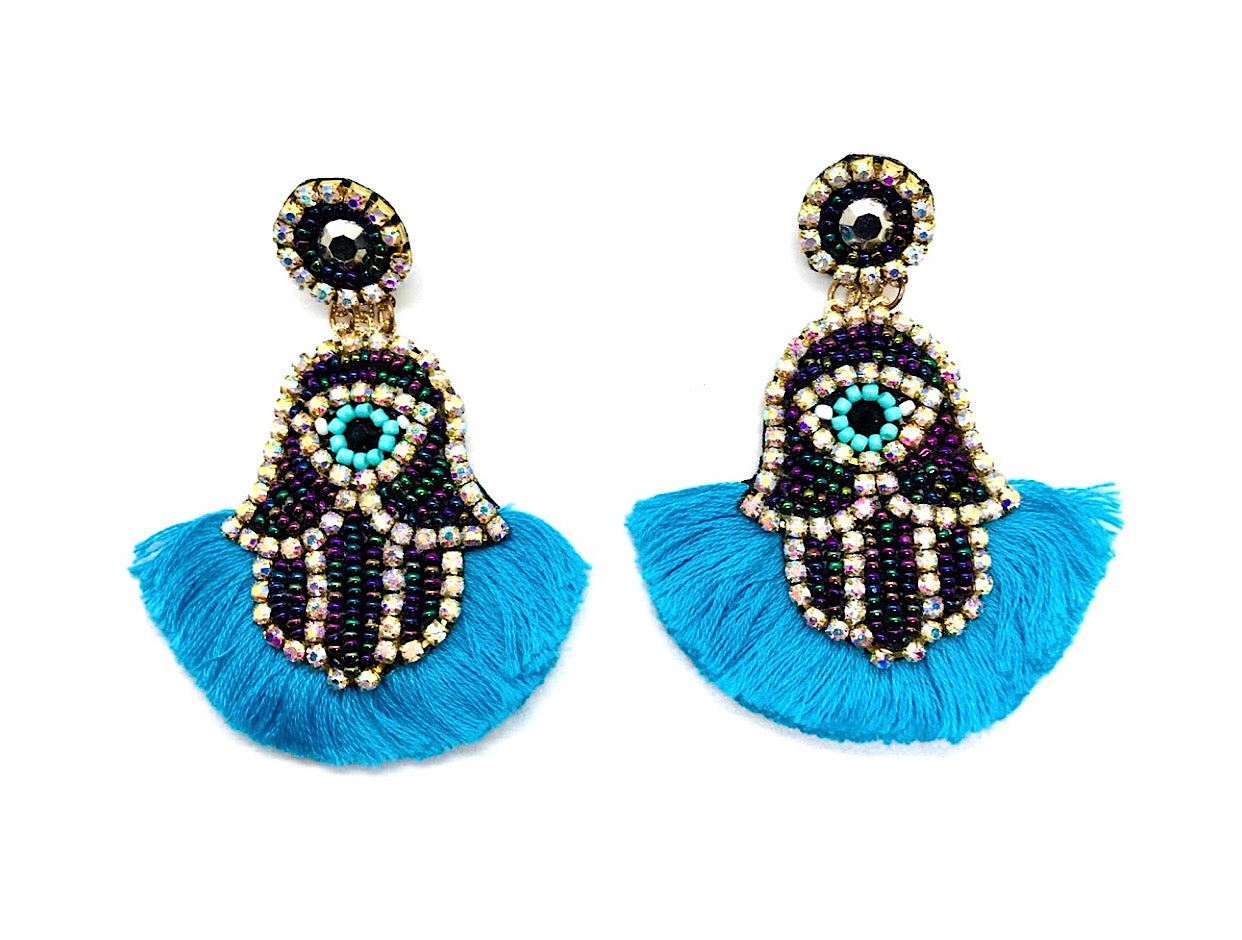 Blue Hands Earrings