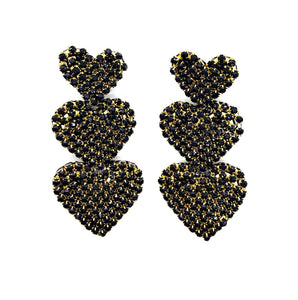 Handmade Hearts 3 Earrings Black