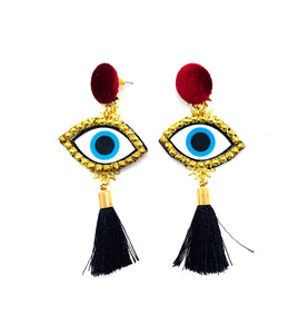 Evil Eye Earrings PLM Black