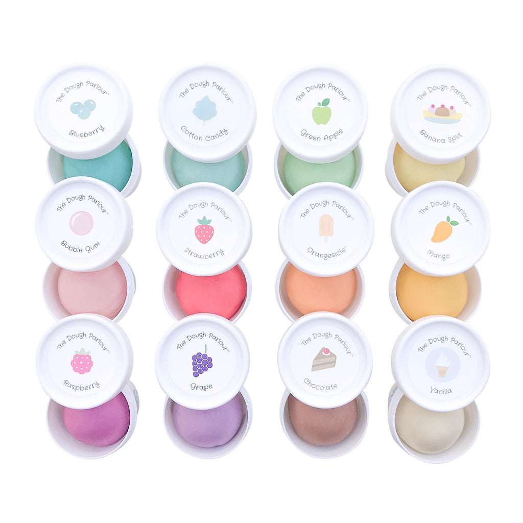 grid of 12 different dough tubs showing different scents and colours