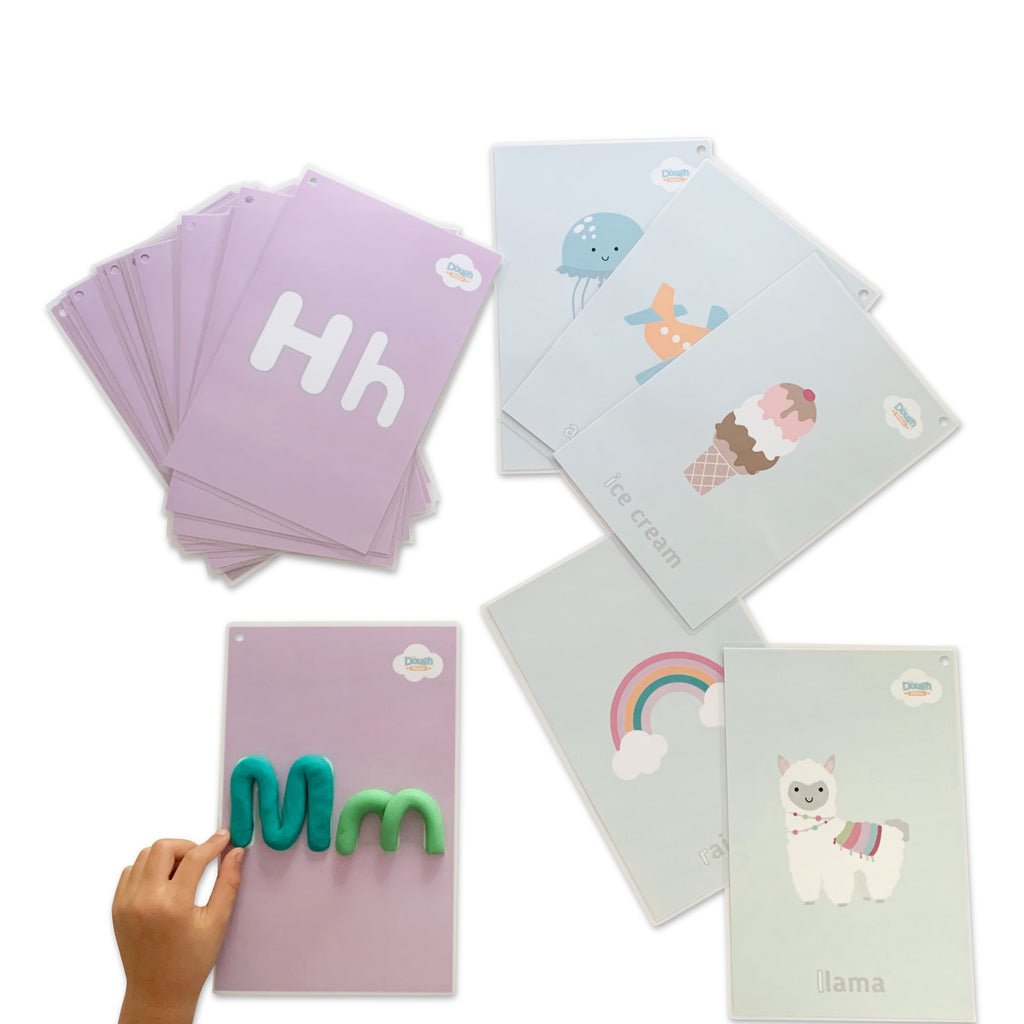 A pastel coloured deck of 26 laminated mats double sided with letters and illustrations