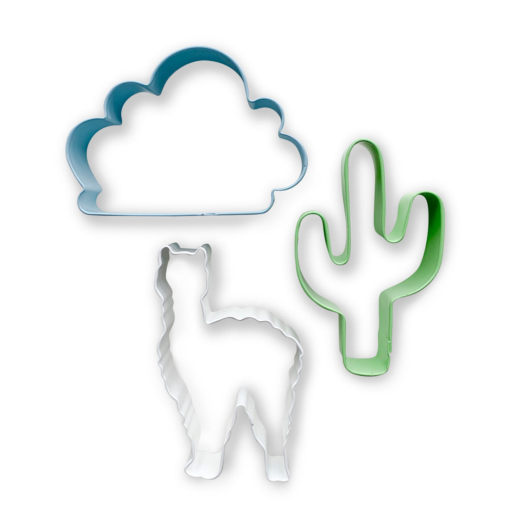 This adorable set includes a white llama, a blue cloud and a green cactus
