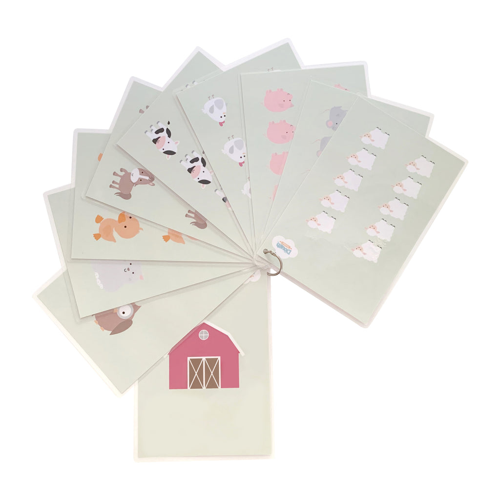 A farm themed collection of numbers from 1-10 on one side and illustrations of animals on the other for young children to practice counting, held together with steel ring clasp that opens and closes