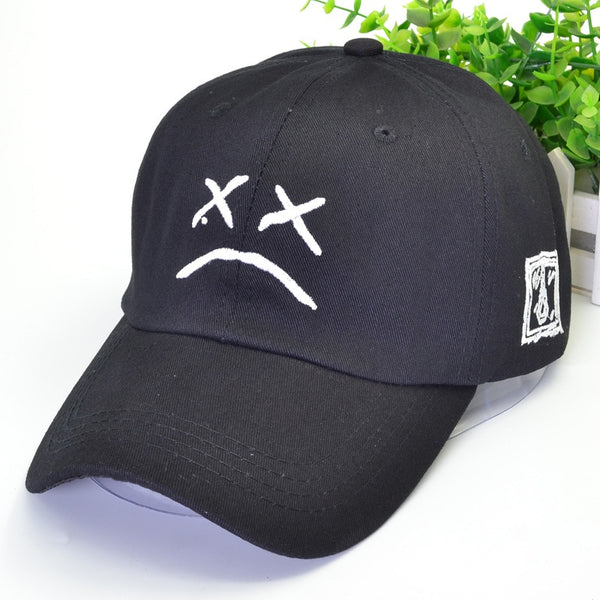 Sad Dad Hat Embroidery 100% Cotton Baseball Cap Sad Face Hat like Xxxtentacion Hip Hop Cap Golf Love Lil Peepp Snapback Women Men