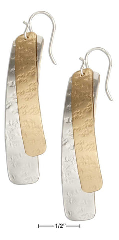 STERLING SILVER AND 12 KARAT GOLD FILLED GEOMETRIC DOUBLE CURVE DANGLE EARRINGS