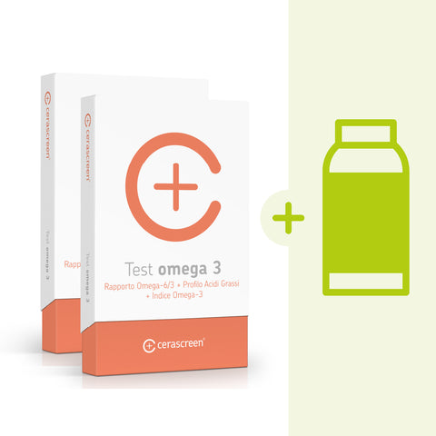 Kit Controllo Omega 3: 2 Screening Omega 3 + integratore omega 3