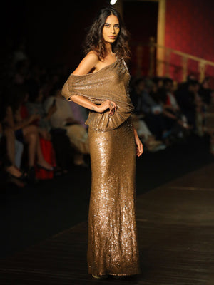 Cristobal Copper Sequined Gown
