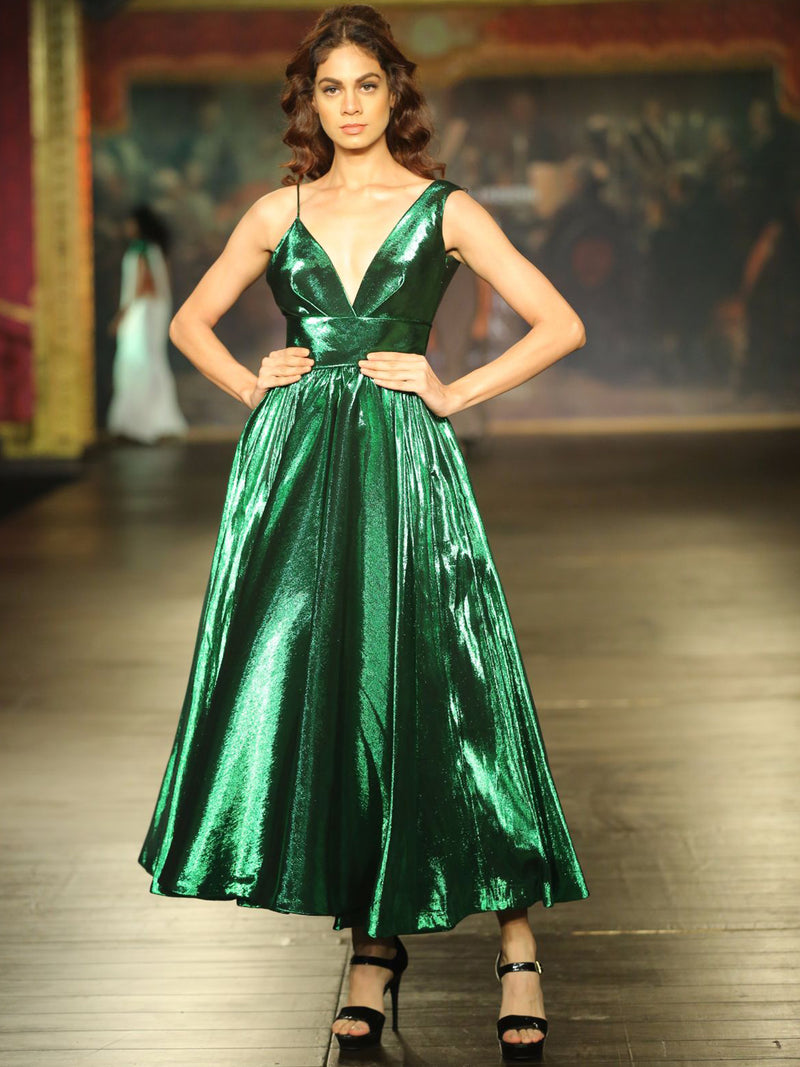 Ballat Green Metallic Dress