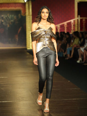 Lorraine Cold Shoulder Metallic Top