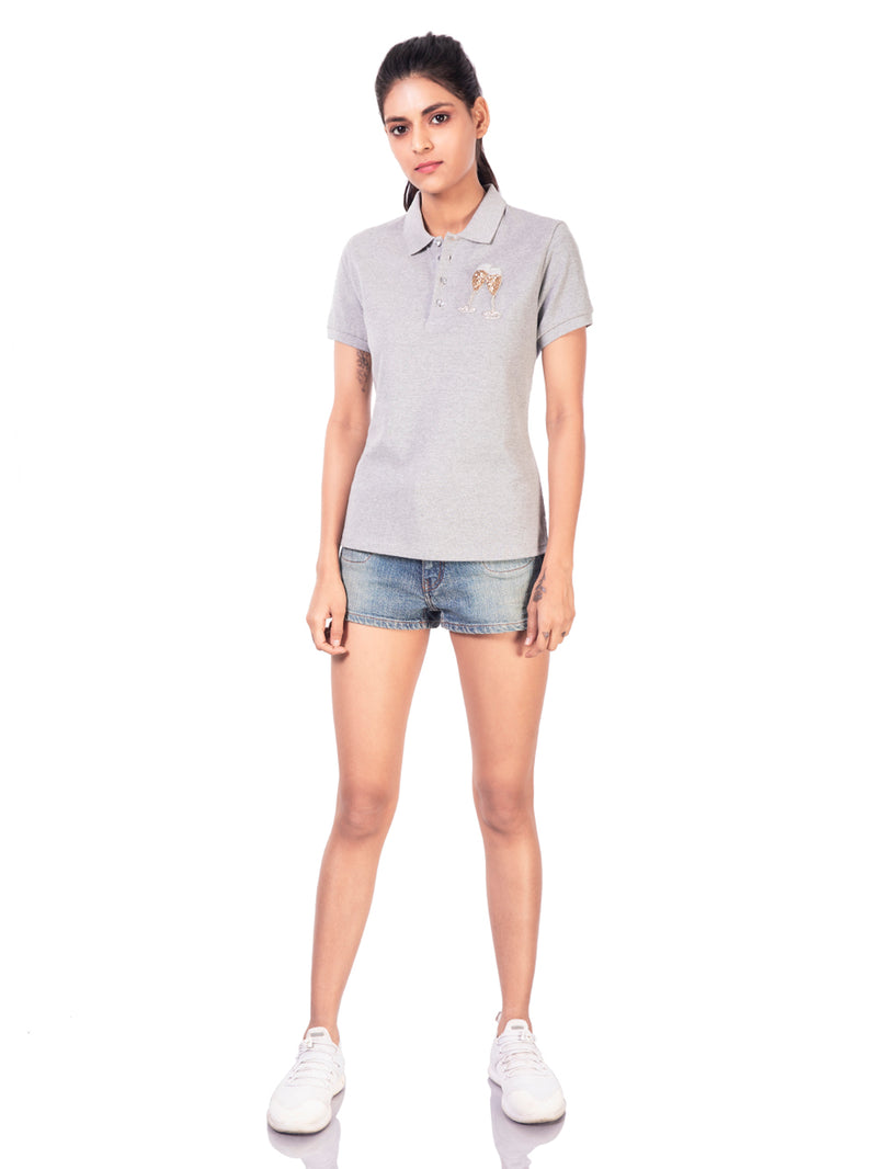 POLO T-SHIRT WITH CHAMPAGNE GLASS MOTIF