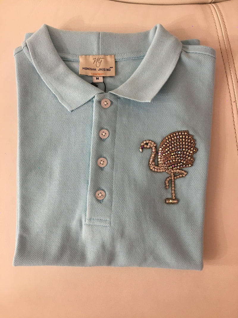 POLO T-SHIRT WITH FLAMINGO MOTIF