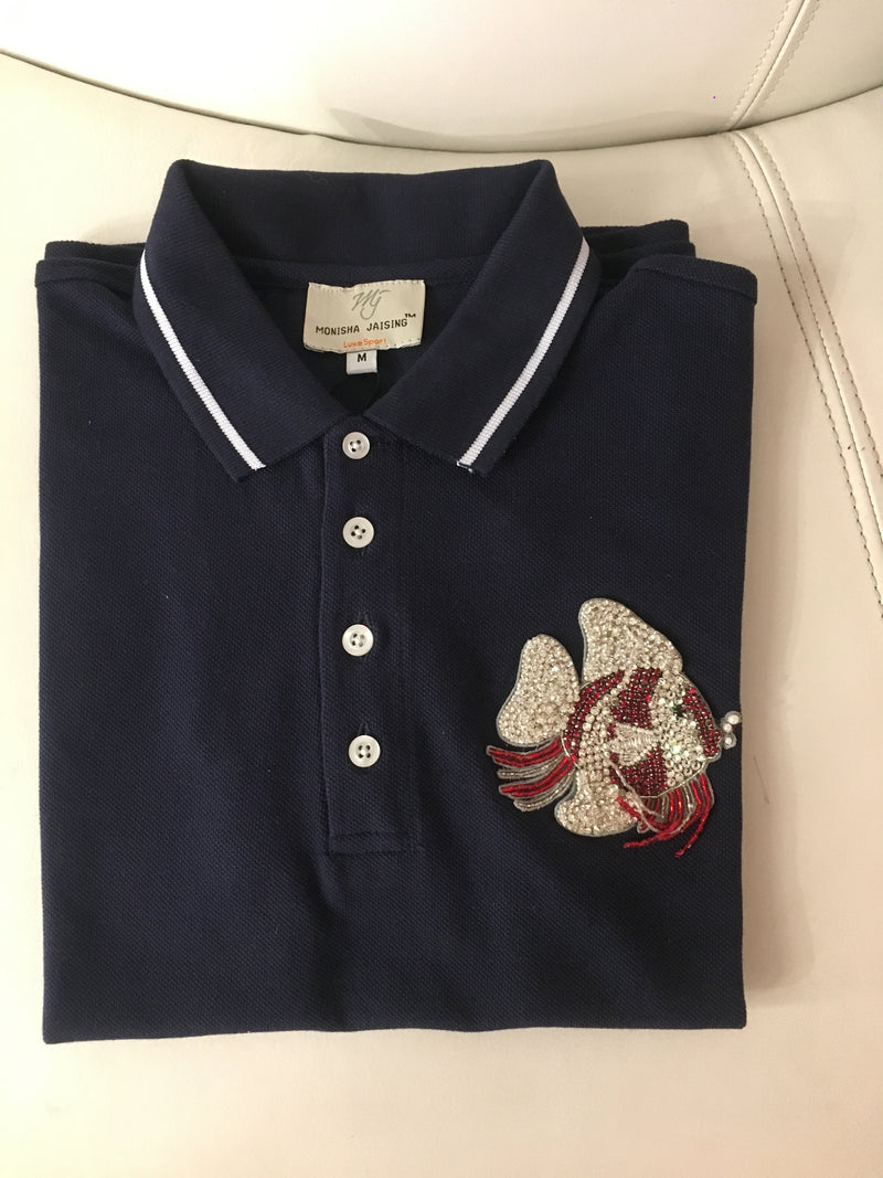 POLO T-SHIRT WITH FISH MOTIF