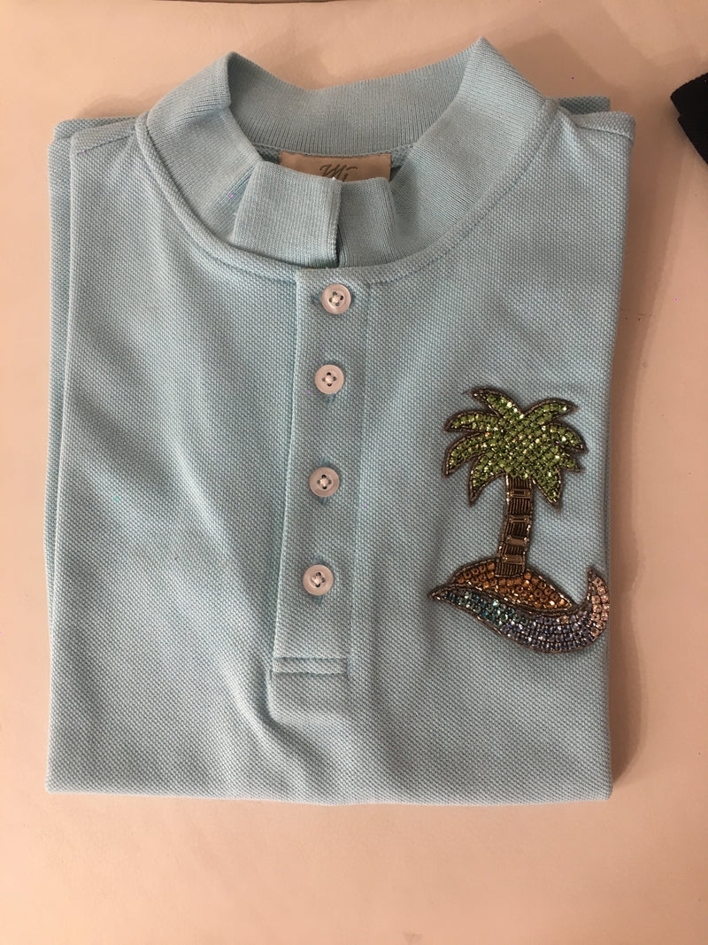 POLO T-SHIRT WITH PALM TREE MOTIF