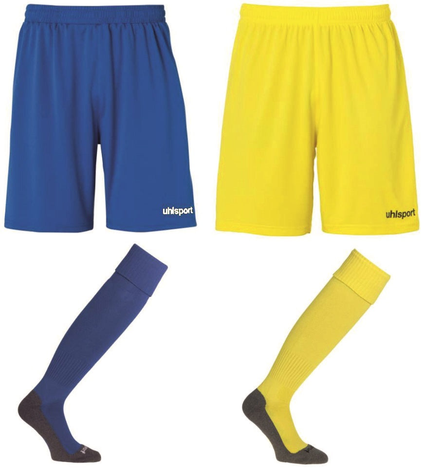 Shorts and Socks Bundle (Azure Blue/White) (Lime Yellow/Black)