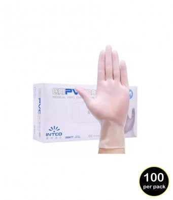 Clear Synthetic Vinyl Disposable Gloves - 1 Box = 100 Gloves
