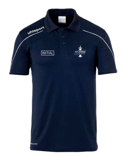 St James Lockleaze FC Stream  Polo Shirt Inc Initials - Navy/White