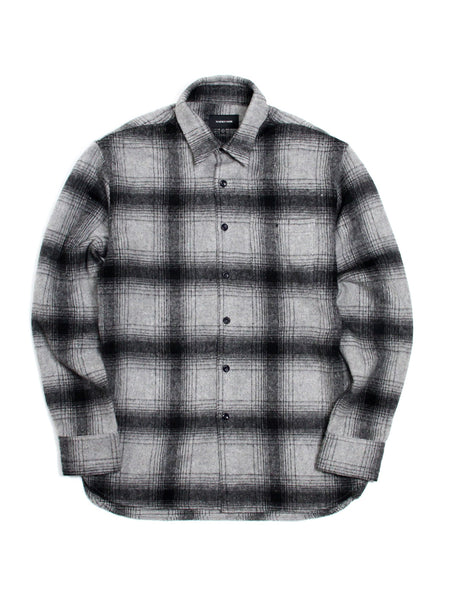 OMBRE FLANNEL SHIRT - GREY PLAID