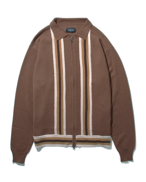 LS ZIP KNIT POLO - BROWN(2531)