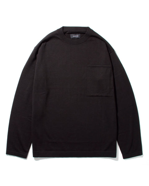 LS POCKET KNIT - BLACK(2533s)