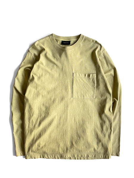 NATURAL DYED BLOCK LS JERSEY - MOSS