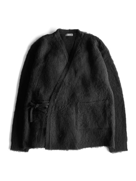 KNITTED WRAP CARDIGAN - BLACK