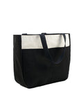 WIDE UTILITY TOTE - BLACK/NATURAL