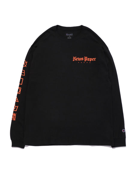 NEWS PAPER LS TEE - BLACK