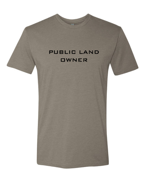 Men's Public Land Owner T-shirt  - Stone/Flag