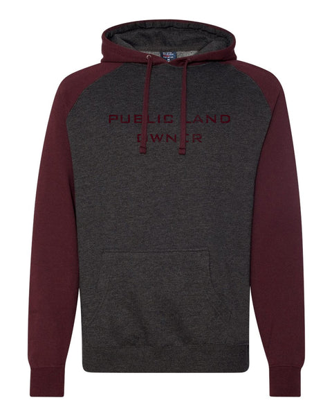 Public Land Owner Heavyweight Fleece Hoodie - Burgundy/Logo