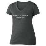 Women's Public Land Owner V-Neck - Charcoal/Flag - CLOSEOUT