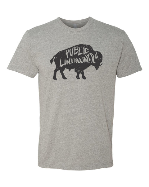 Men's Bison Public Land Owner T-Shirt - Heather Grey