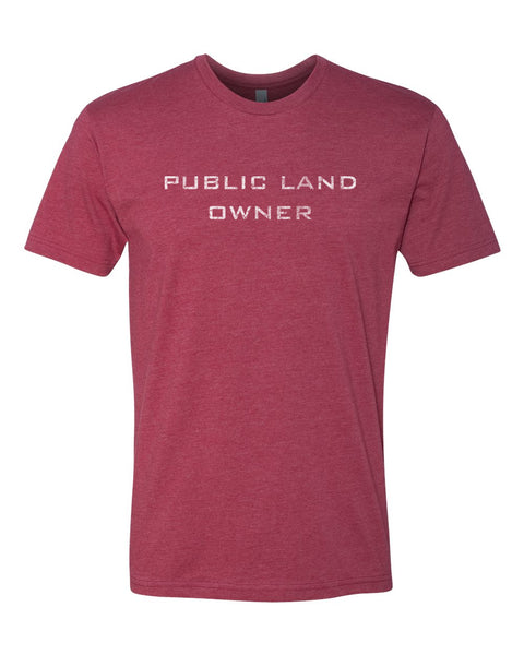 Men's Public Land Owner T-Shirt - Cardinal/Logo