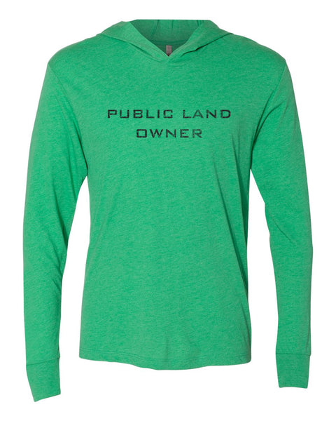 Public Land Owner Lightweight Tri-Blend Hoodie - Green/Logo
