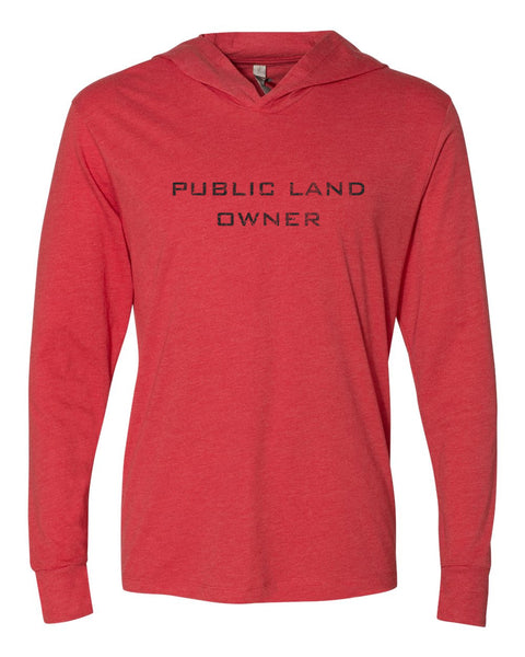 Public Land Owner Lightweight Tri-Blend Hoodie - Red/Logo